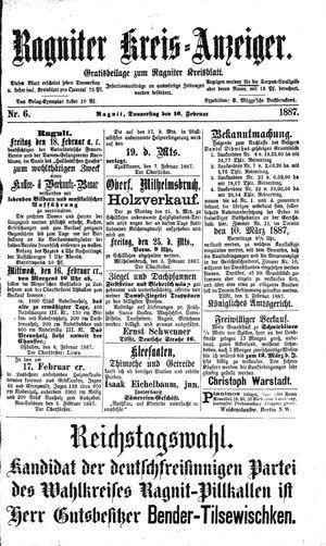 Ragniter Kreis-Anzeiger vom 10.02.1887