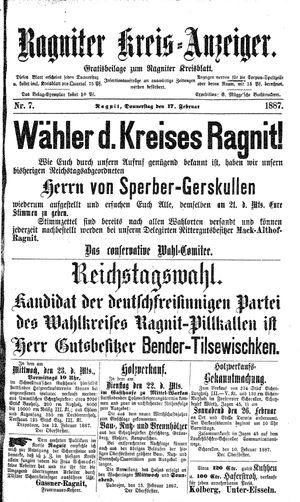 Ragniter Kreis-Anzeiger vom 17.02.1887