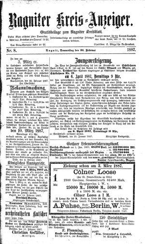 Ragniter Kreis-Anzeiger on Feb 24, 1887