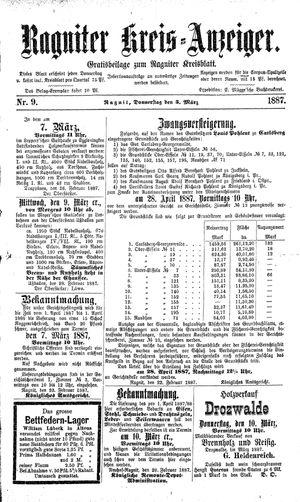 Ragniter Kreis-Anzeiger vom 03.03.1887