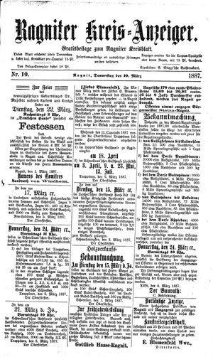 Ragniter Kreis-Anzeiger vom 10.03.1887