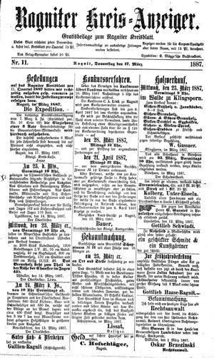 Ragniter Kreis-Anzeiger vom 17.03.1887