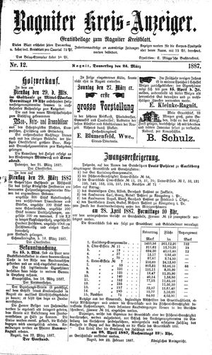 Ragniter Kreis-Anzeiger vom 24.03.1887