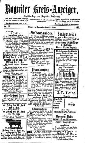 Ragniter Kreis-Anzeiger vom 31.03.1887