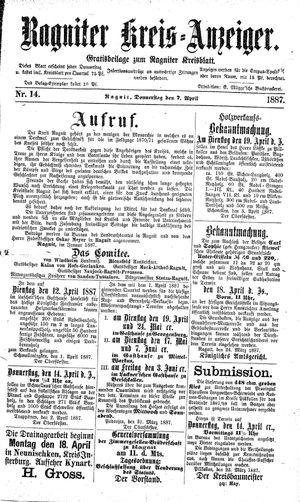 Ragniter Kreis-Anzeiger vom 07.04.1887