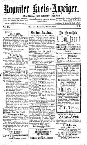Ragniter Kreis-Anzeiger vom 14.04.1887