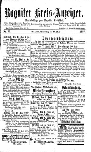 Ragniter Kreis-Anzeiger vom 12.05.1887