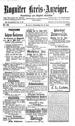 Ragniter Kreis-Anzeiger on Jun 9, 1887