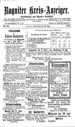 Ragniter Kreis-Anzeiger vom 23.06.1887