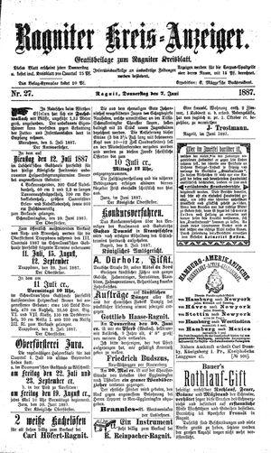 Ragniter Kreis-Anzeiger vom 07.07.1887