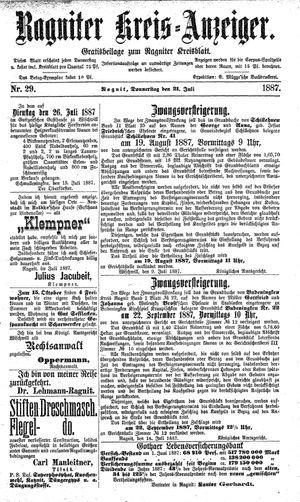 Ragniter Kreis-Anzeiger vom 21.07.1887