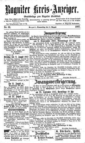 Ragniter Kreis-Anzeiger vom 04.08.1887