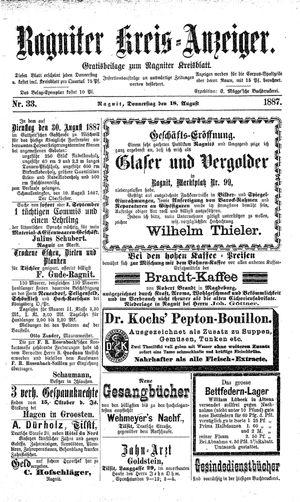 Ragniter Kreis-Anzeiger on Aug 18, 1887