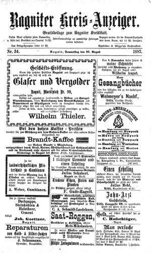 Ragniter Kreis-Anzeiger vom 25.08.1887