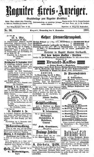 Ragniter Kreis-Anzeiger vom 08.09.1887