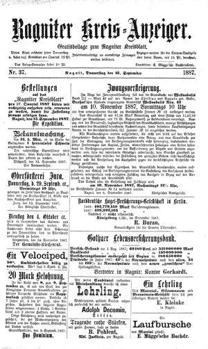 Ragniter Kreis-Anzeiger vom 15.09.1887