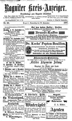 Ragniter Kreis-Anzeiger vom 22.09.1887