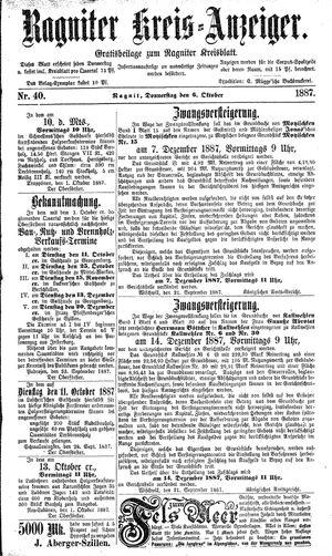 Ragniter Kreis-Anzeiger vom 06.10.1887