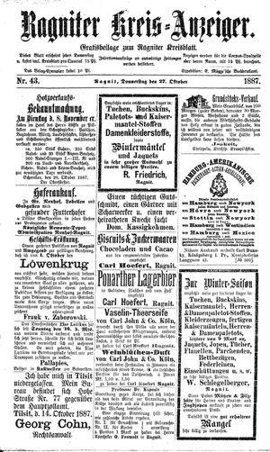 Ragniter Kreis-Anzeiger vom 27.10.1887
