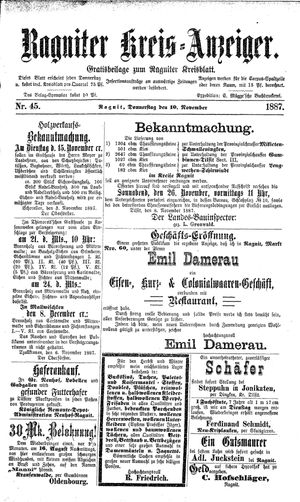 Ragniter Kreis-Anzeiger vom 10.11.1887