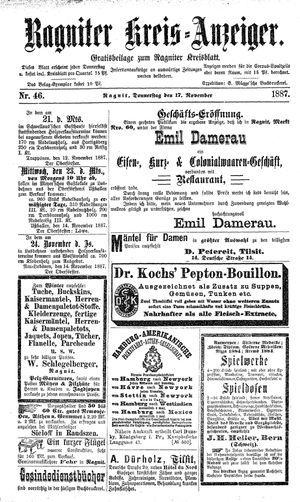 Ragniter Kreis-Anzeiger vom 17.11.1887