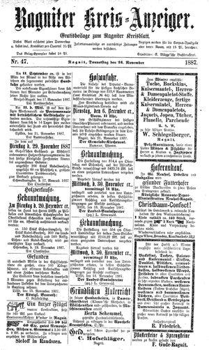 Ragniter Kreis-Anzeiger vom 24.11.1887