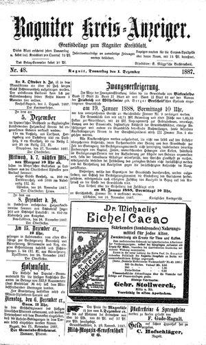 Ragniter Kreis-Anzeiger vom 01.12.1887
