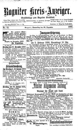 Ragniter Kreis-Anzeiger vom 22.12.1887