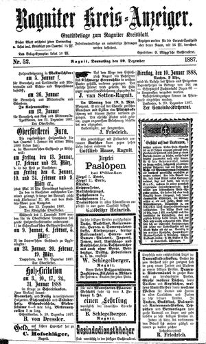 Ragniter Kreis-Anzeiger vom 29.12.1887