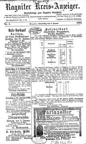 Ragniter Kreis-Anzeiger vom 05.01.1893