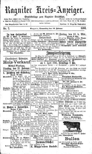 Ragniter Kreis-Anzeiger vom 16.02.1893