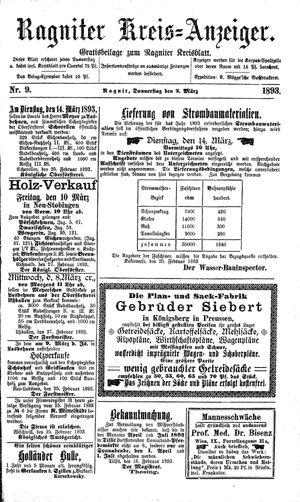 Ragniter Kreis-Anzeiger vom 02.03.1893