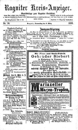 Ragniter Kreis-Anzeiger on Mar 9, 1893