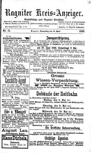 Ragniter Kreis-Anzeiger vom 13.04.1893
