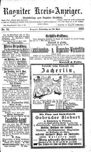 Ragniter Kreis-Anzeiger vom 20.04.1893
