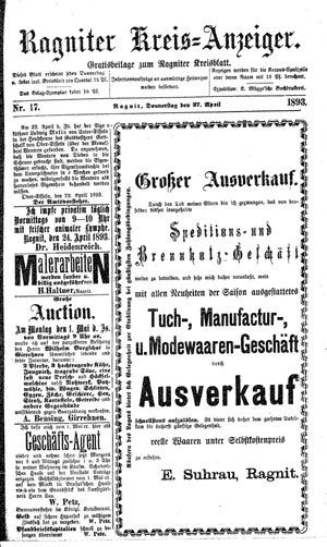 Ragniter Kreis-Anzeiger vom 27.04.1893