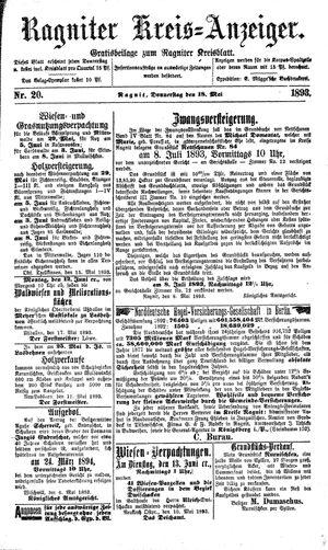 Ragniter Kreis-Anzeiger vom 18.05.1893