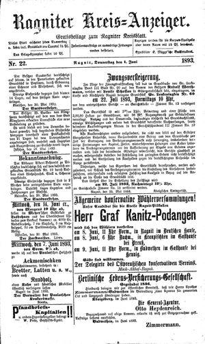 Ragniter Kreis-Anzeiger vom 01.06.1893
