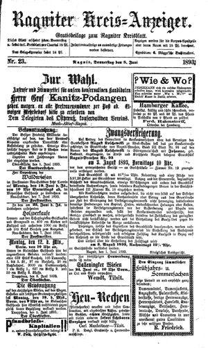 Ragniter Kreis-Anzeiger vom 08.06.1893