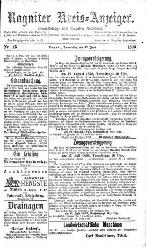 Ragniter Kreis-Anzeiger on Jun 22, 1893