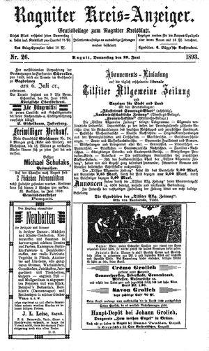 Ragniter Kreis-Anzeiger vom 29.06.1893