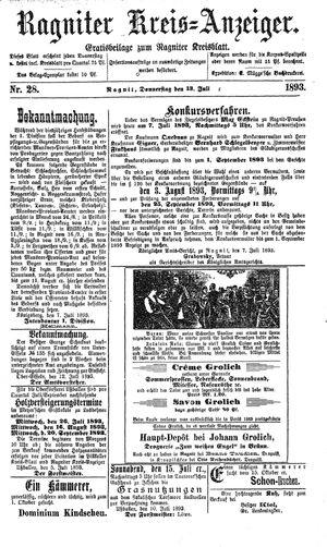 Ragniter Kreis-Anzeiger vom 13.07.1893