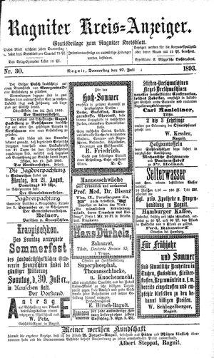 Ragniter Kreis-Anzeiger vom 27.07.1893