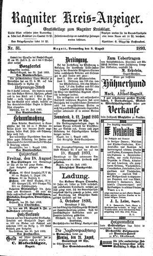 Ragniter Kreis-Anzeiger vom 03.08.1893