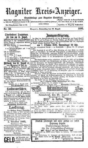 Ragniter Kreis-Anzeiger vom 10.08.1893