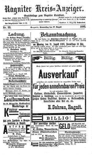 Ragniter Kreis-Anzeiger vom 17.08.1893