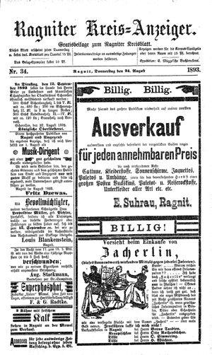 Ragniter Kreis-Anzeiger vom 24.08.1893