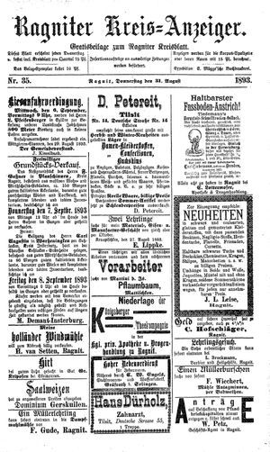 Ragniter Kreis-Anzeiger vom 31.08.1893