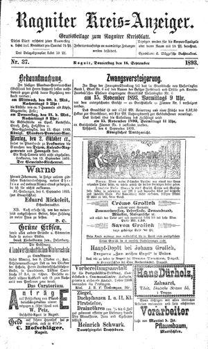 Ragniter Kreis-Anzeiger vom 14.09.1893