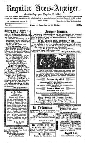 Ragniter Kreis-Anzeiger vom 12.10.1893